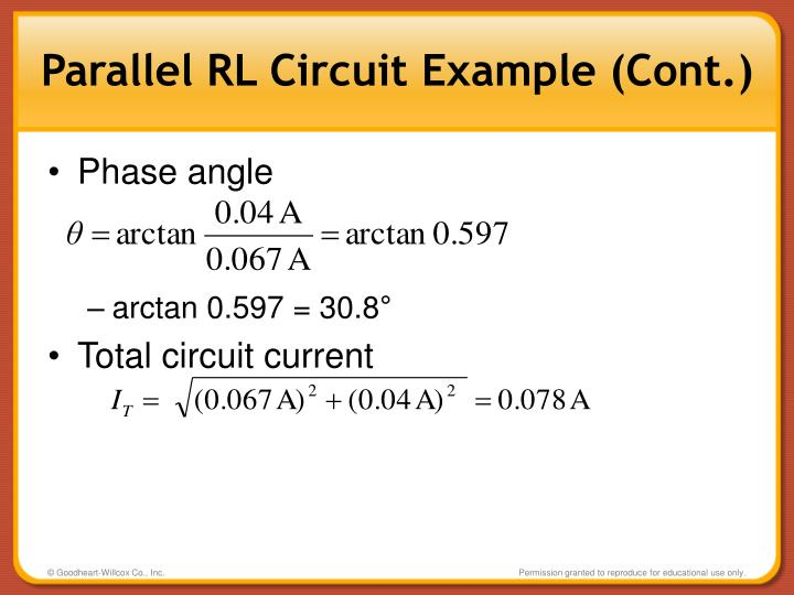 Parallel RL Circuit Example (Cont.)