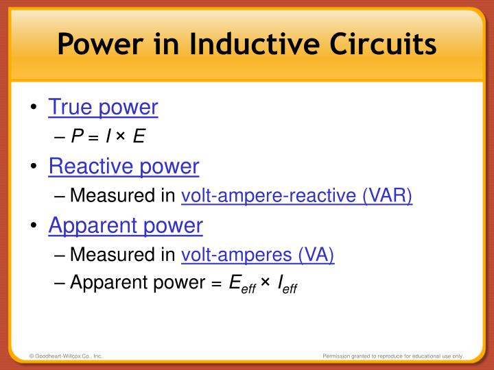 Power in Inductive Circuits