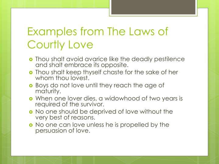 Examples from The Laws of Courtly Love