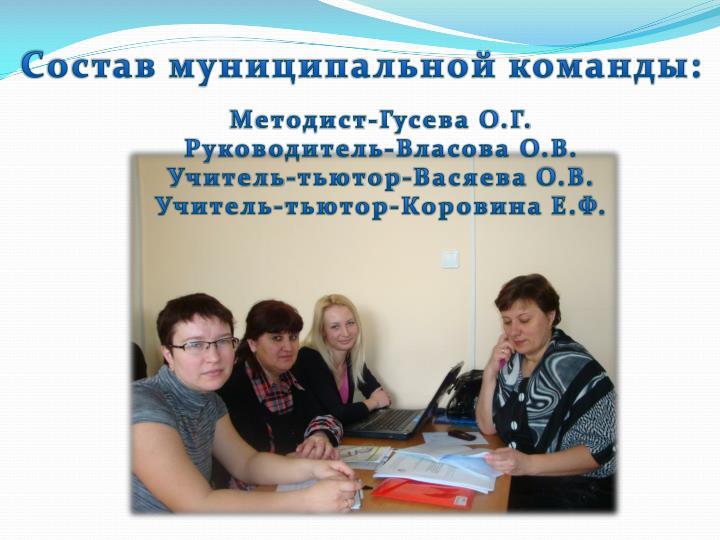 Состав муниципальной команды: