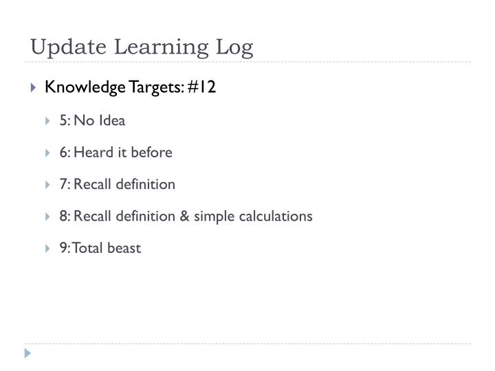 Update Learning Log