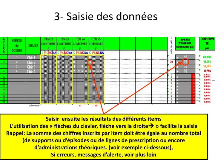 3- Saisie des données