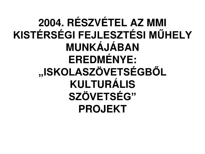 2004. RÉSZVÉTEL AZ MMI KISTÉRSÉGI FEJLESZTÉSI MŰHELY MUNKÁJÁBAN