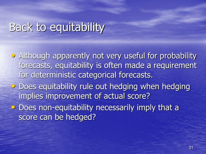 Back to equitability