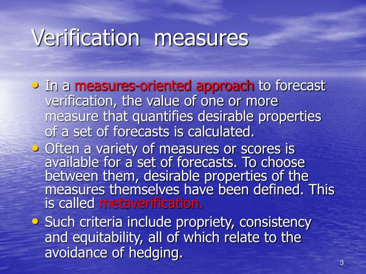 Verification  measures