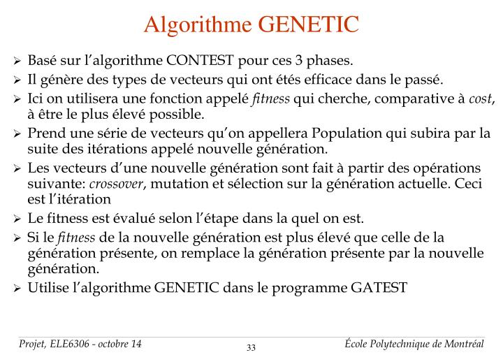 Algorithme GENETIC
