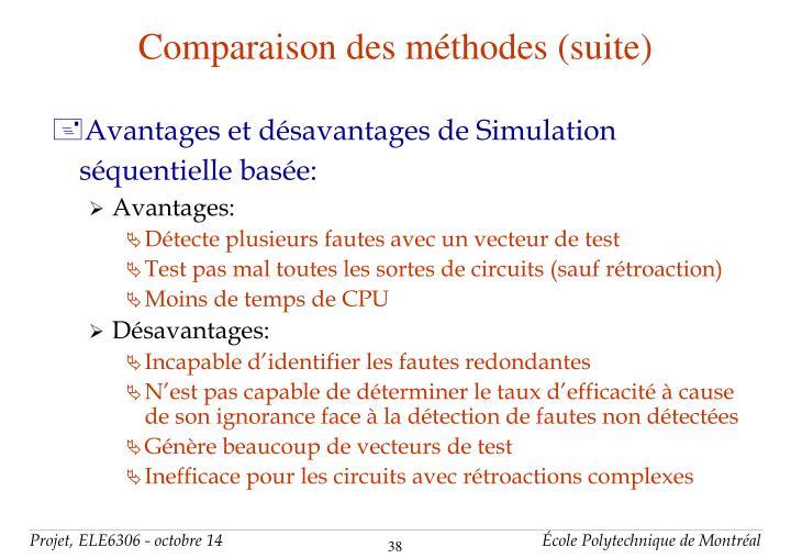 Comparaison des méthodes (suite)