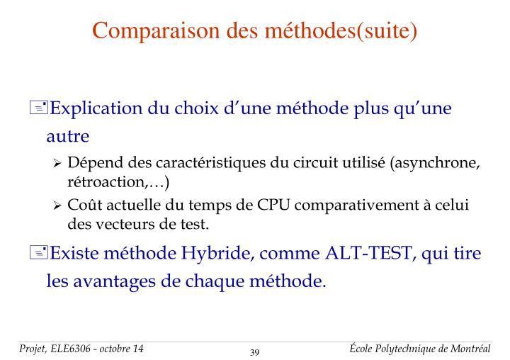 Comparaison des méthodes(suite)