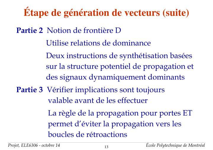 Étape de génération de vecteurs (suite)
