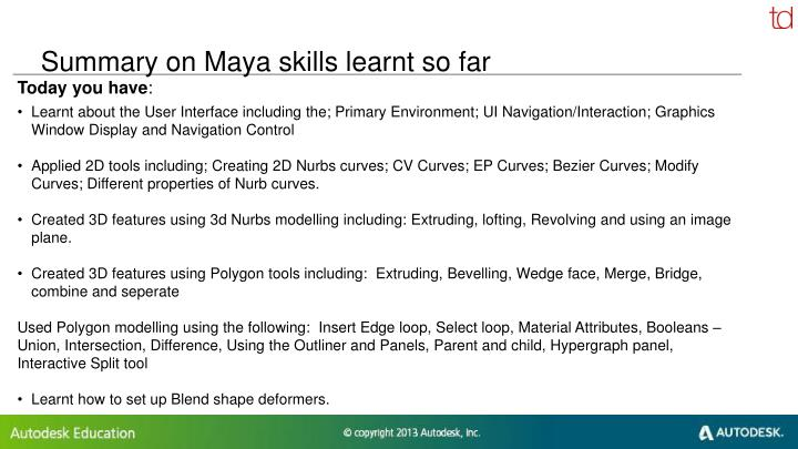 Summary on Maya skills learnt so far
