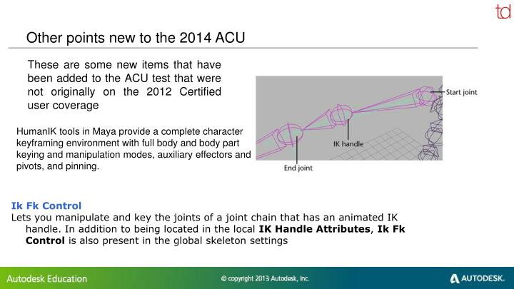 Other points new to the 2014 ACU