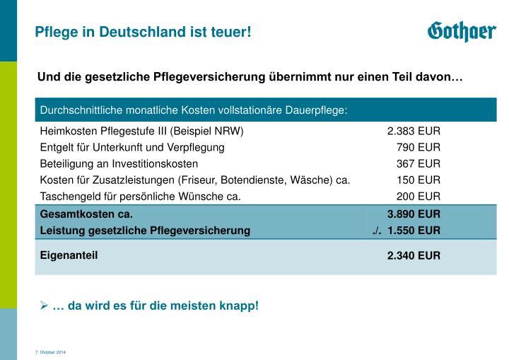 Pflege in Deutschland ist teuer!