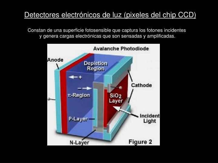 Detectores electrónicos de luz (pixeles del chip CCD)