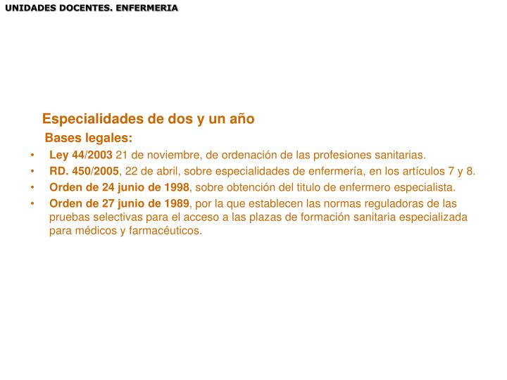 UNIDADES DOCENTES. ENFERMERIA