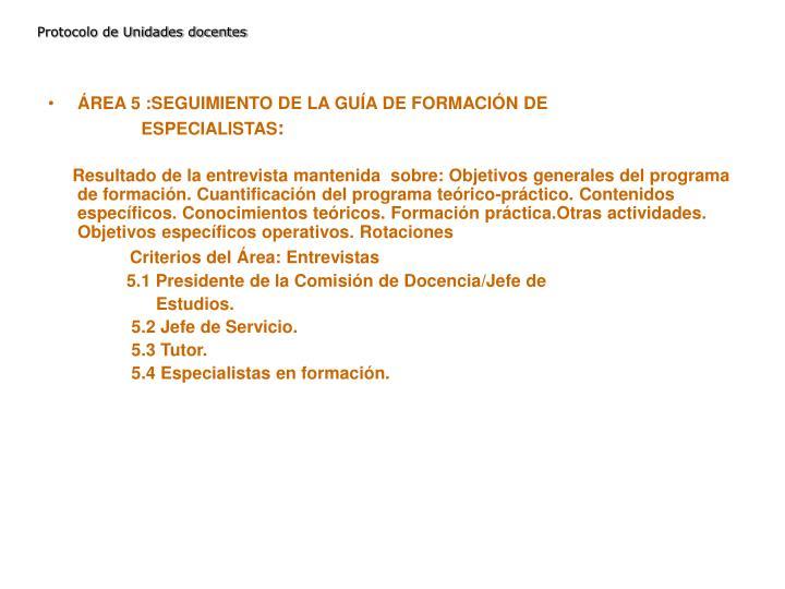Protocolo de Unidades docentes