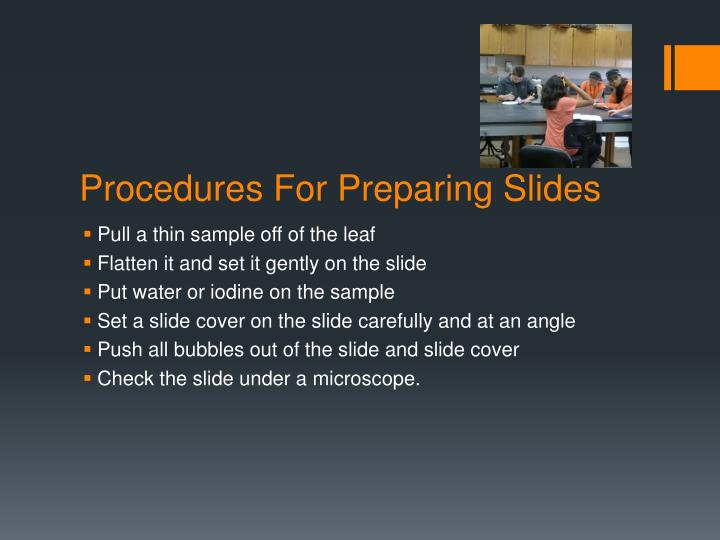 Procedures for preparing slides