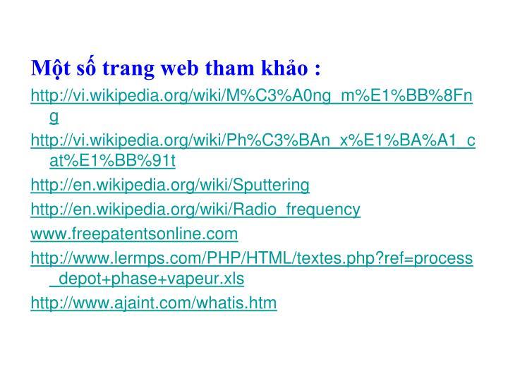 Một số trang web tham khảo :