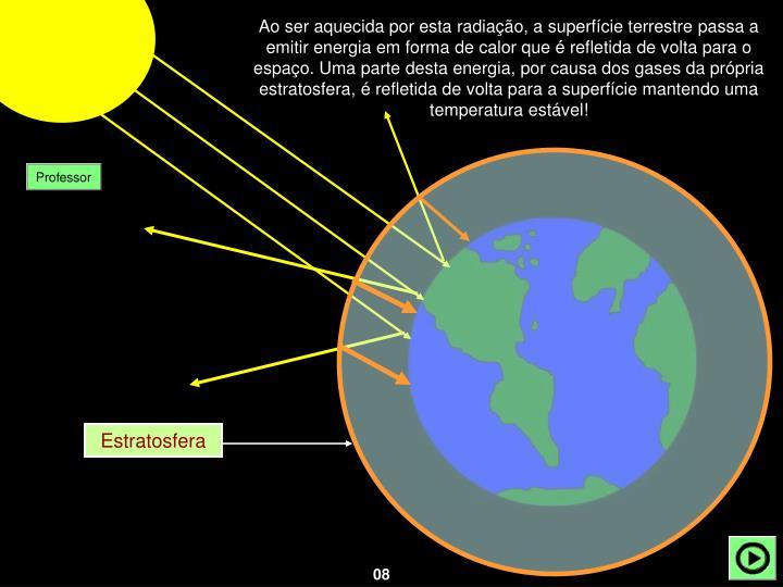 Ao ser aquecida por esta radiação, a superfície terrestre passa a emitir energia em forma de calor que é refletida de volta para o espaço. Uma parte desta energia, por causa dos gases da própria estratosfera, é refletida de volta para a superfície mantendo uma temperatura estável!