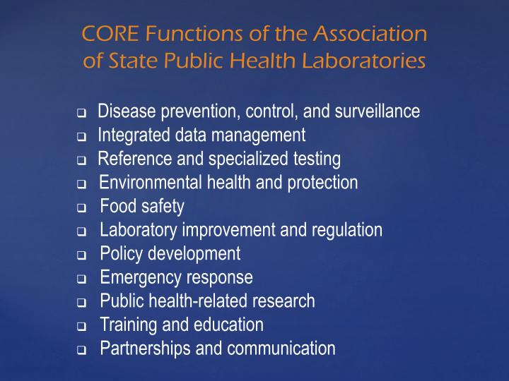 Core functions of the association of state public health laboratories