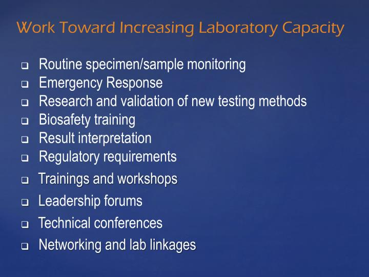 Work Toward Increasing Laboratory Capacity
