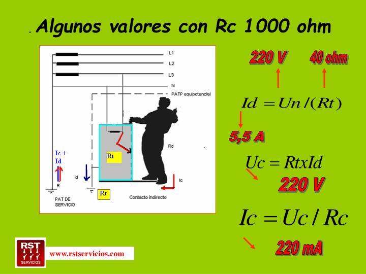 Algunos valores con Rc 1000 ohm