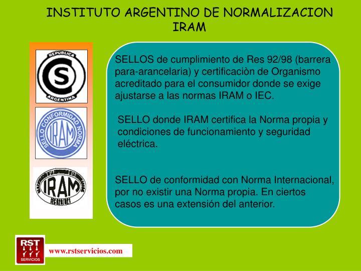INSTITUTO ARGENTINO DE NORMALIZACION IRAM