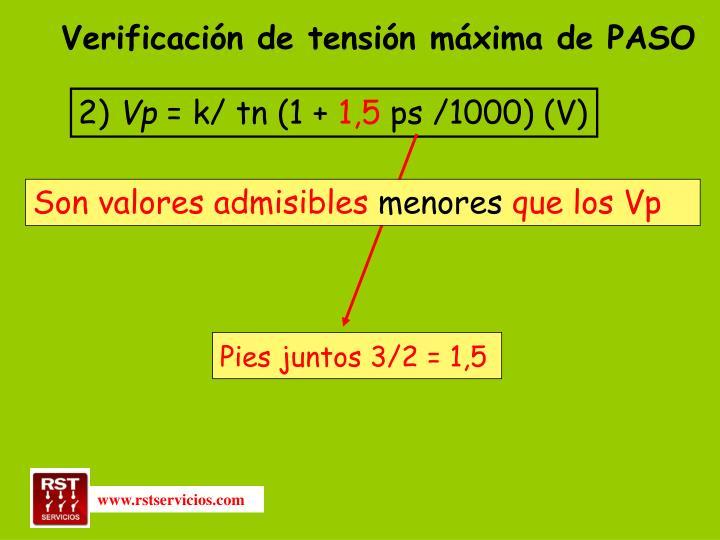 Verificación de tensión máxima de PASO