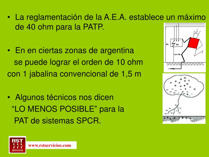 La reglamentación de la A.E.A. establece un máximo de 40 ohm para la PATP.