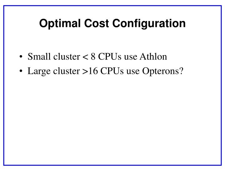 Small cluster < 8 CPUs use Athlon