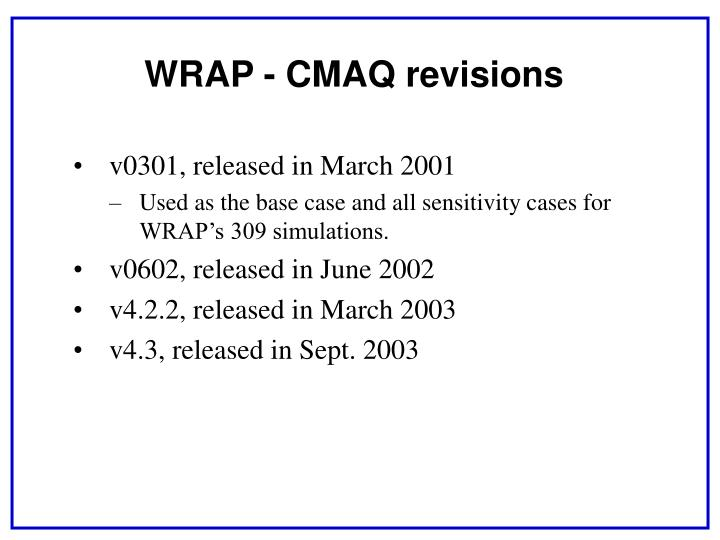 WRAP - CMAQ revisions