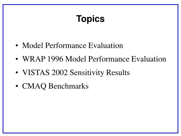 Model Performance Evaluation