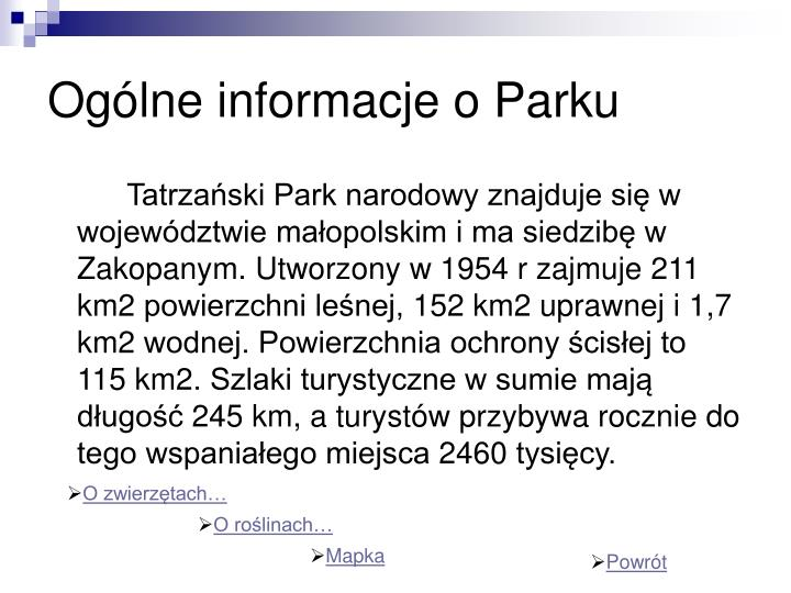 Ogólne informacje o Parku