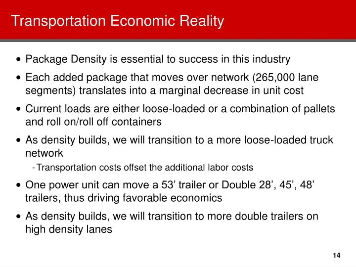 Transportation Economic Reality