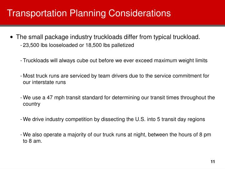 Transportation Planning Considerations