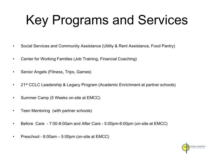Key Programs and Services