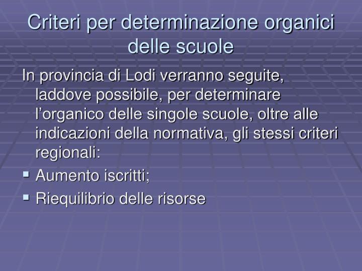 Criteri per determinazione organici delle scuole