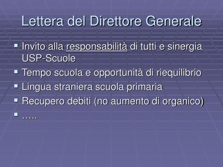 Lettera del Direttore Generale