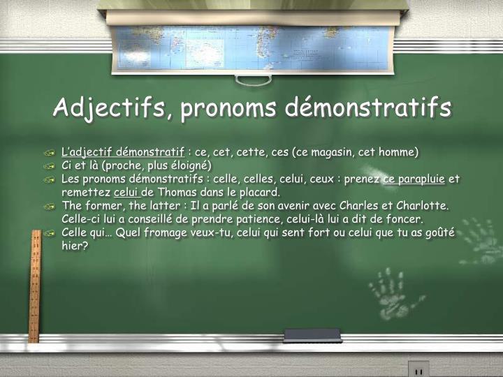 Adjectifs, pronoms d