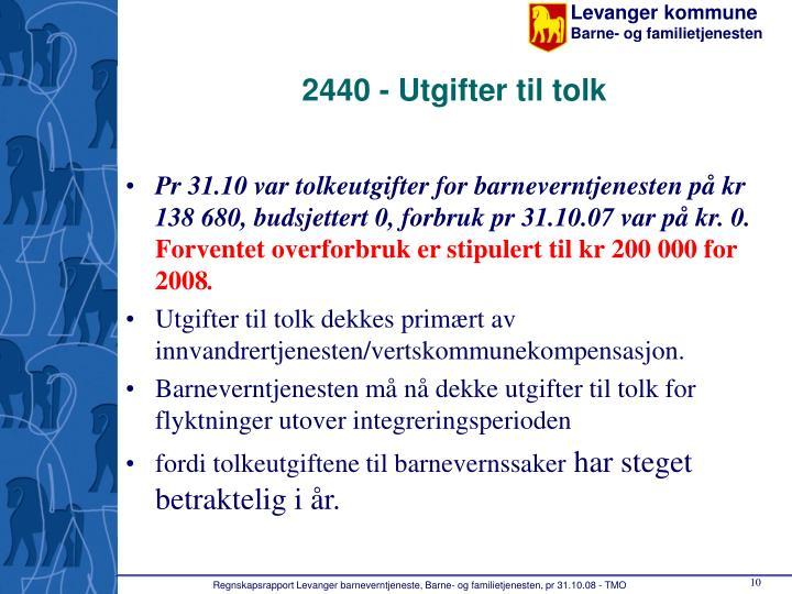 2440 - Utgifter til tolk