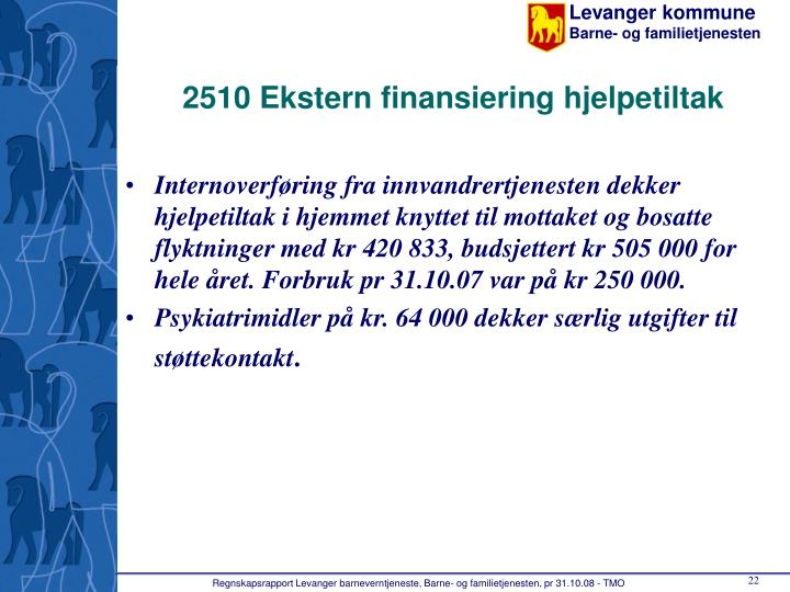 2510 Ekstern finansiering hjelpetiltak