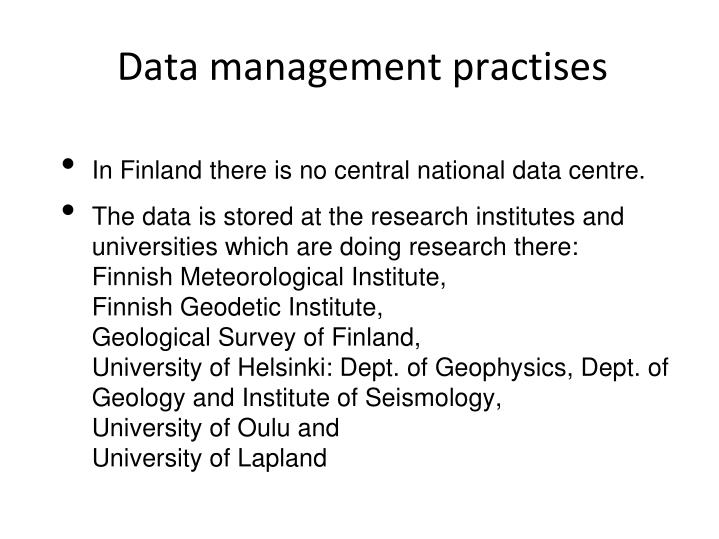 Data management practises