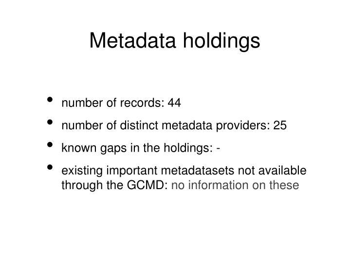 Metadata holdings