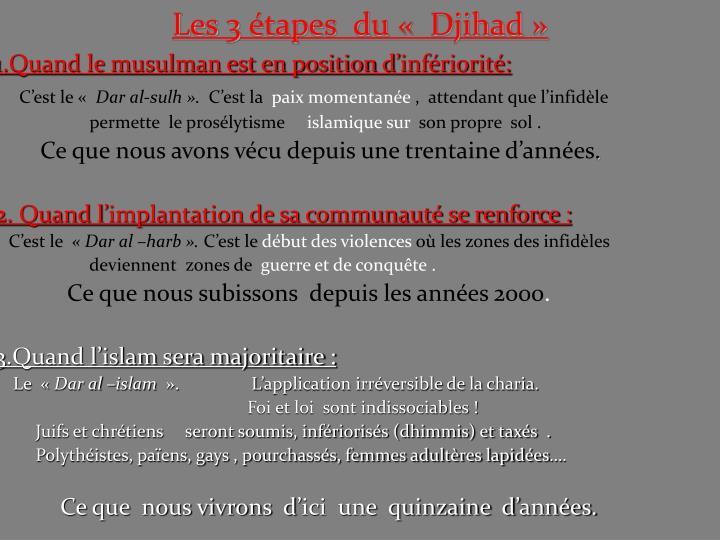 Les 3 étapes  du « Djihad»