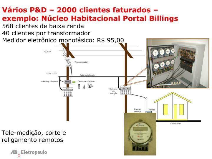 Vários P&D – 2000 clientes faturados – exemplo: Núcleo Habitacional Portal Billings