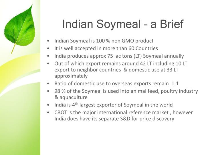 Indian Soymeal – a Brief