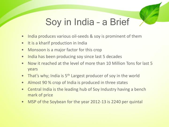 Soy in India – a Brief