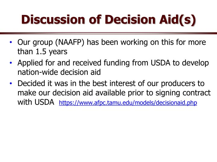 Discussion of Decision Aid(s)