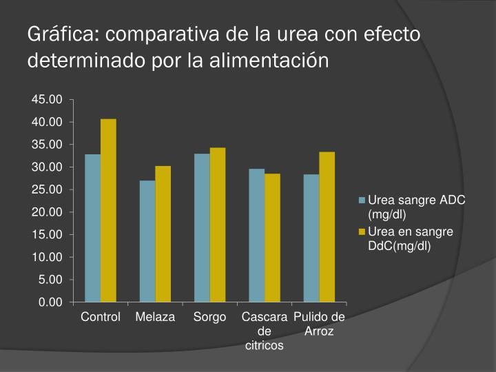 Gráfica: comparativa de la urea con efecto determinado por la alimentación