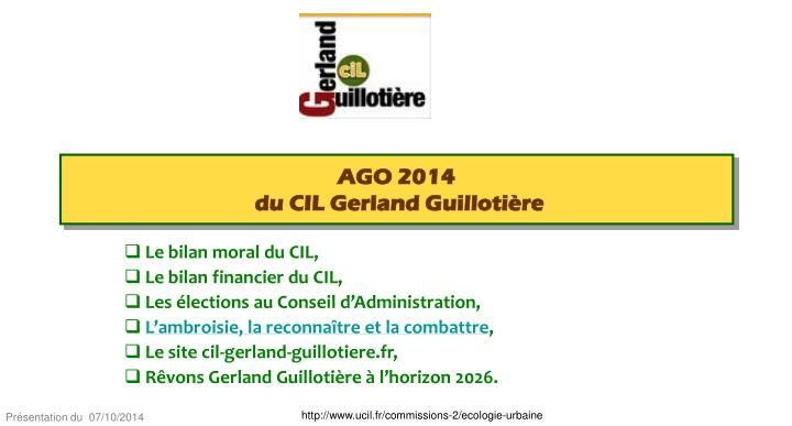 Ago 2014 du cil gerland guilloti re