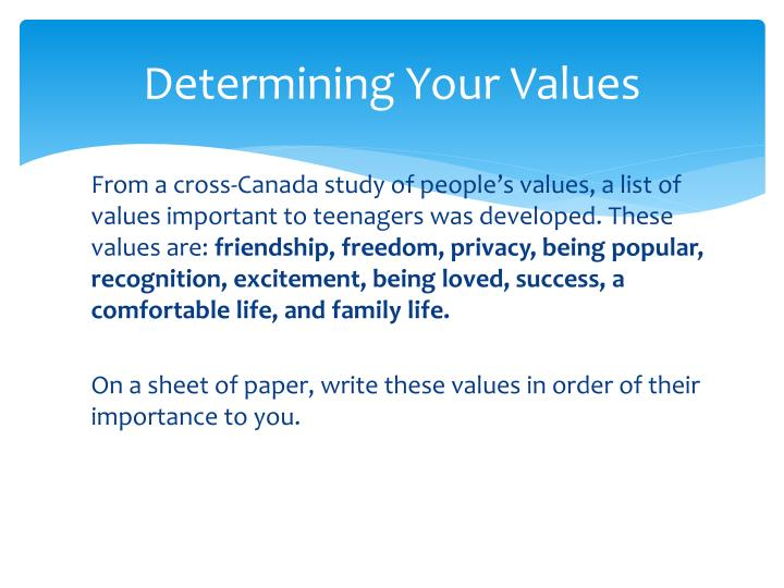 Determining Your Values